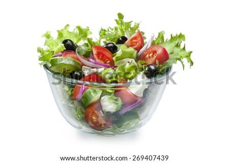 Mediterranean Greek Salad with Feta on white - stock photo