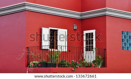 Mediterranean house exterior, traditional architecture - stock photo