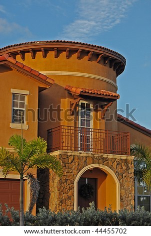 Mediterranean House with a Tower during sunset - stock photo
