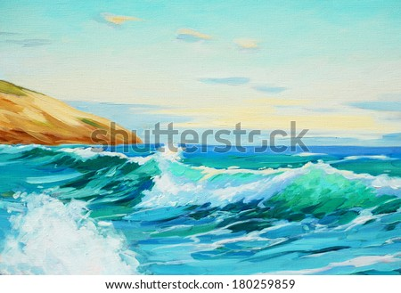 mediterranean landscape, painting by oil on a canvas,  illustration - stock photo