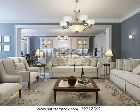 Mediterranean living room trend. 3D render - stock photo