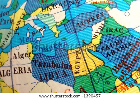 Mediterranean  map on small terrestrial globe - stock photo
