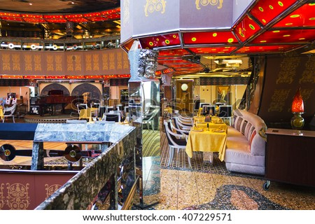 MEDITERRANEAN MAY 06 Interior Cruise Ship Stock Photo Royalty Free
