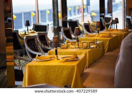 MEDITERRANEAN - MAY 06: Interior of cruise ship Costa Mediterranea at Mediterranean on may 06, 2012 in Mediterranean Sea.Costa Cruises - biggest cruise company in Europe  - stock photo