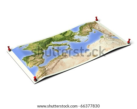 Mediterranean on unfolded map sheet with thumbtacks. Map colored according to vegetation. Includes clip path for the background.