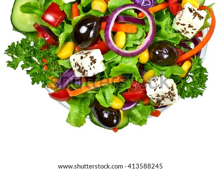 Mediterranean or Greek salad isolated on white background - stock photo