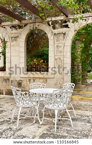 Mediterranean restaurant setting - stock photo