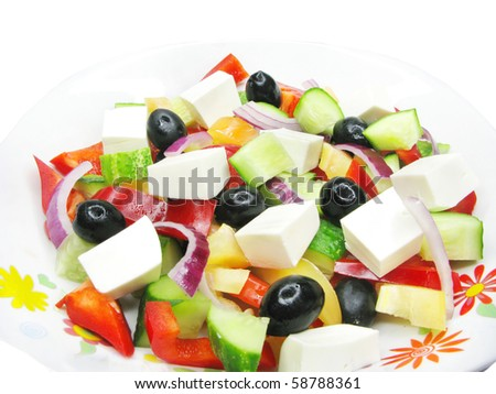 mediterranean salad with cheese olive and tomato