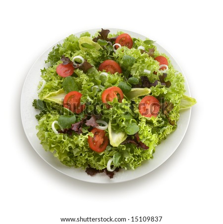 Mediterranean salad with lettuce tomatoes and olives - stock photo