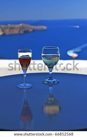 Mediterranean Santorini Wine Glasses - stock photo