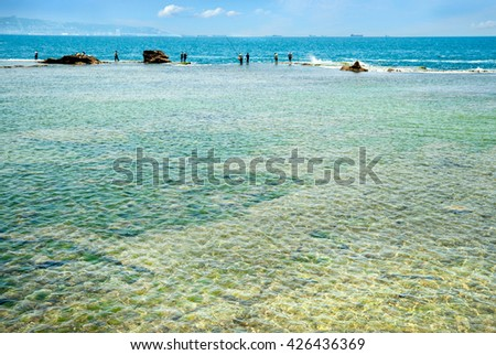 Mediterranean Sea. Akko in Israel. - stock photo