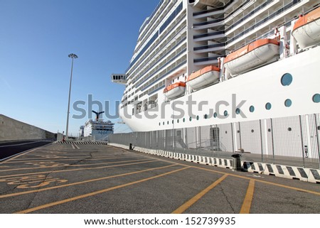 MEDITERRANEAN SEA -APRIL, 19:Grand Hoiday ship formerly owned by Carnival Cruise Lines in 2010, she underwent dry dock refurbishment and was then transferred to the Ibero Cruises on April 19, 2013. - stock photo