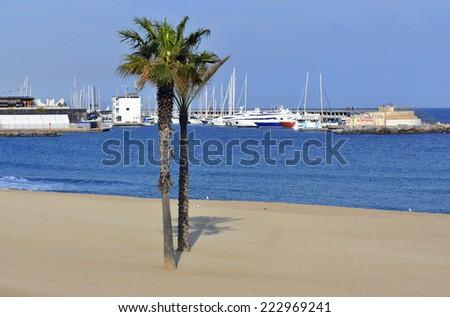 Mediterranean Sea - Barcelona - stock photo