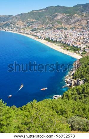 Mediterranean Sea - Beach in Alanya, Turkey - stock photo