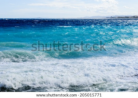 Mediterranean sea, Cote d Azur,Nice, France. Nice is the capital of the Alpes Maritimes departement - stock photo