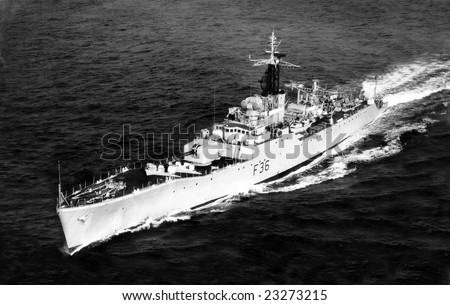 MEDITERRANEAN SEA - MARCH 3rd 1961 - HMS Whitby sailing in calm waters - stock photo