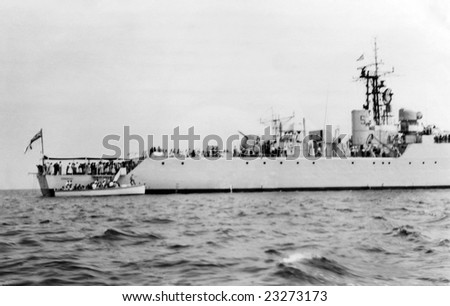 MEDITERRANEAN SEA - 22nd July 1956 - HMS Torquay F43 just after her launch here being seen by invited persons - stock photo