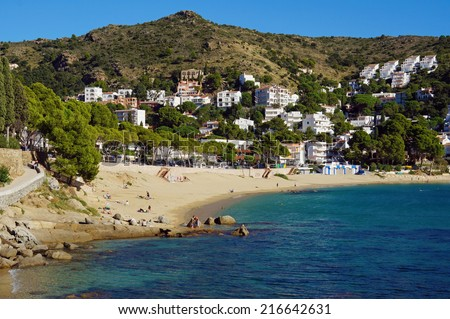 Mediterranean sea shore in Spain with the beach of Cala Canyelles Petites, Rosas, Costa Brava, Catalonia - stock photo