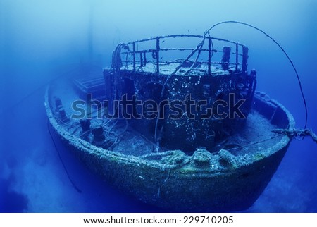 Mediterranean Sea, U.W. photo, wreck diving, Tunisia, La Galite Islands, sunken russian ship wreck - FILM SCAN - stock photo