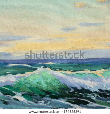 mediterranean sea, wave,  illustration, painting by oil on a canvas - stock photo