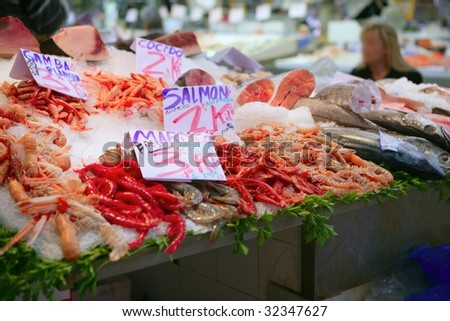 Mediterranean seafood in the market on ice - stock photo