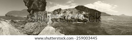 Mediterranean seascape panoramic view in Almeria. Andalusia, Spain - stock photo