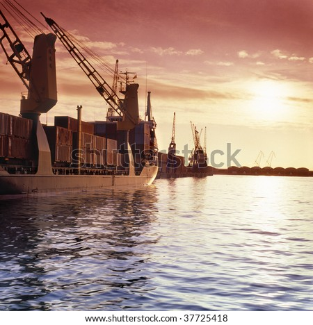 Mediterranean shipping port - stock photo