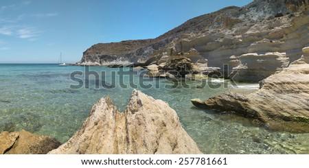 Mediterranean stone coastline in Almeria, Spain. Panoramic view - stock photo