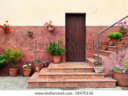 Mediterranean style house entrance - stock photo