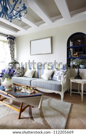 Mediterranean-style living room - stock photo