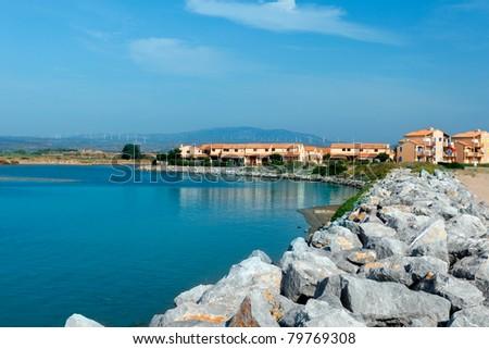 Mediterranean summery sea coast. Nice southeast France. - stock photo