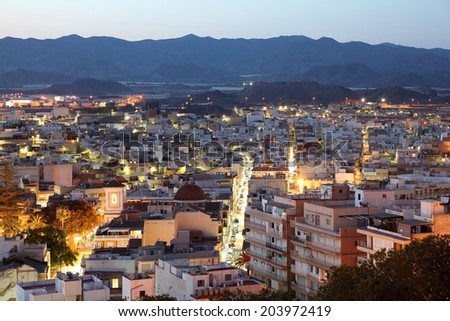 Mediterranean town Aguilas at night. Province of Murcia, Spain