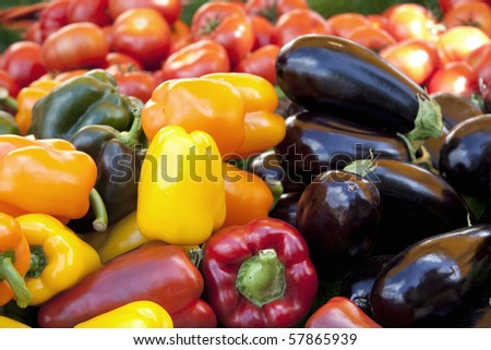 Mediterranean vegetables for sale at a market - stock photo