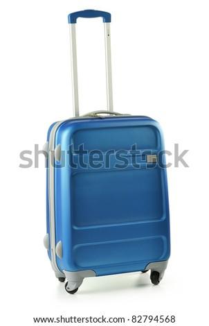 Medium blue polycarbonate suitcase isolated on white - stock photo