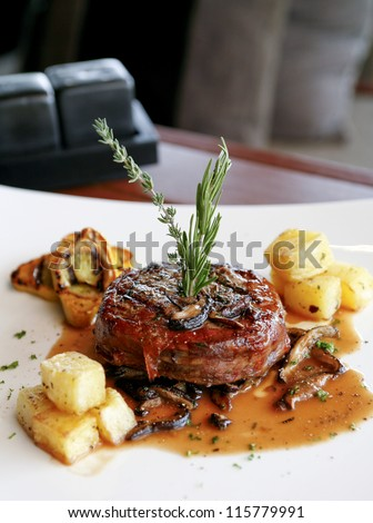 Medium cooked roast beef - stock photo