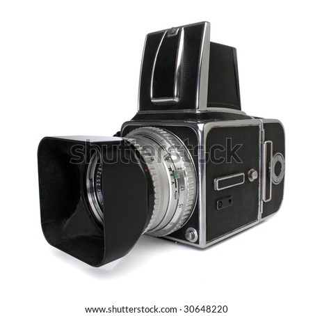 Medium format camera, with clipping path - stock photo