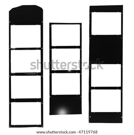Medium format filmstrip,  picture frames, light incidence, picture frames,with free copy space,isolated on white background - stock photo