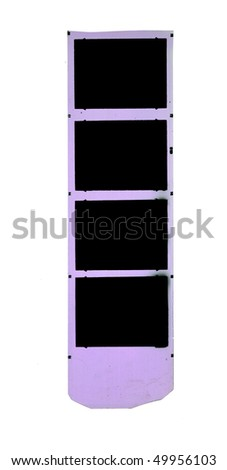 Medium format filmstrip,picture frames with free copy space, isolated on white background, grungy and dirty - stock photo