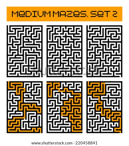 medium mazes set 2 - stock photo