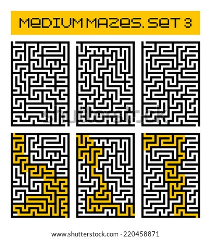 medium mazes set 3 - stock photo