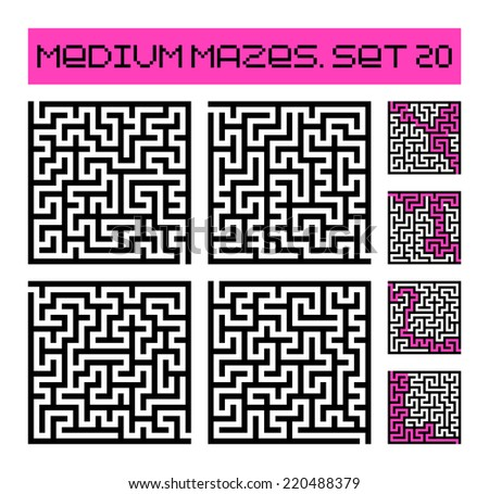 medium mazes set 20 - stock photo