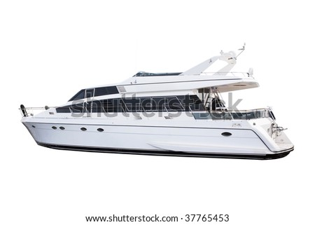 Medium size luxury yacht isolated over white background