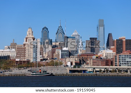 Medium view of Philadelphia cityscape and Penn's Landing - stock photo