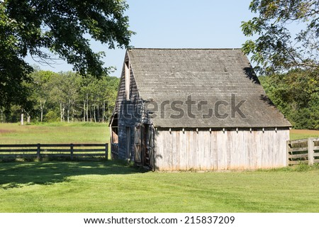 Meeks Stable at Appomattox is traditional wooden farm building in use at the end of the Civil War - stock photo