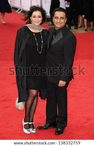 Meera Syal and Sanjeev Bhasker arriving for the TV BAFTA Awards 2013, Royal Festival Hall, London. 12/05/2013