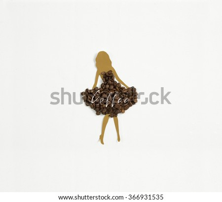 Meet coffee with milk ! A light brown woman's silhouette wearing a dress of coffee beans on white background - stock photo