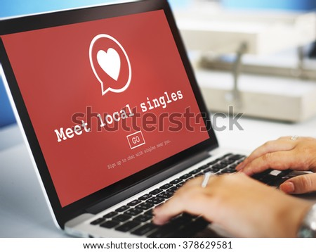 Meet Local Singles Dating Romance Heart Love Passion Concept - stock photo