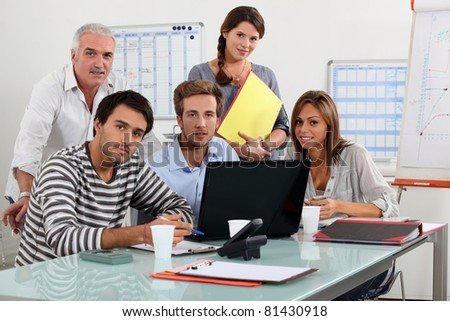 meeting at laptap - stock photo