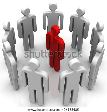 Meeting. Concept. Red symbol of man surrounded by gray. Isolated. 3D Illustration