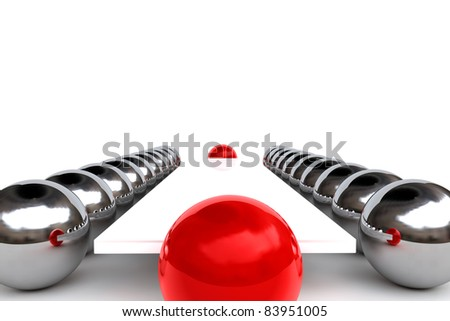 Meeting concept with red and chrome spheres - stock photo